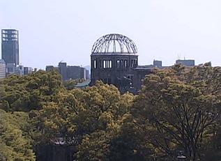 原爆ドームと国道183号が見える中国エネルギーフォーラムライブカメラと雨雲レーダー/広島県基町