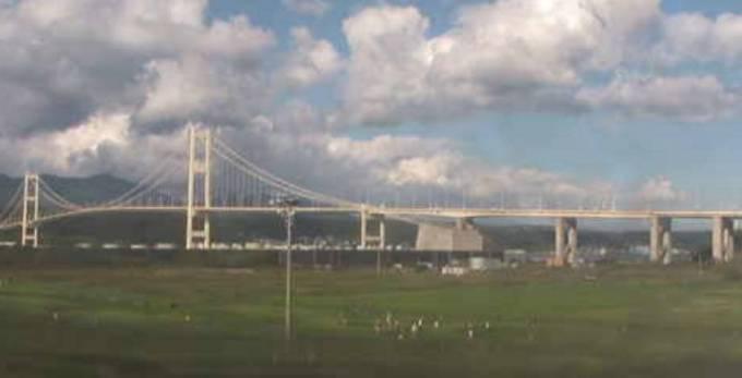 白鳥大橋・大黒島と測量山 ライブカメラと雨雲レーダー/北海道室蘭市