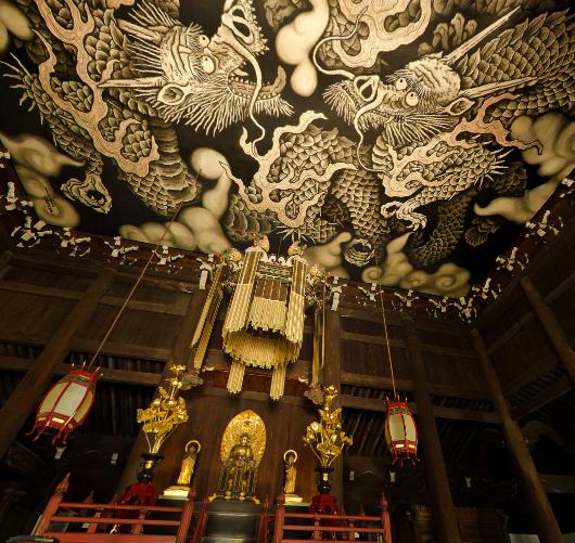 京都最古の禅寺 建仁寺 双龍図と風神雷神の360度パノラマカメラ