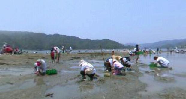 潮干狩りの360度パノラマカメラ