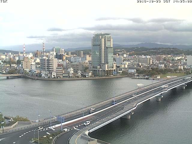 くにびき大橋(県道21号)・大橋川ライブカメラと雨雲レーダー/島根県松江市