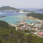 高月山から望む座間味港と北浜ビーチライブカメラ