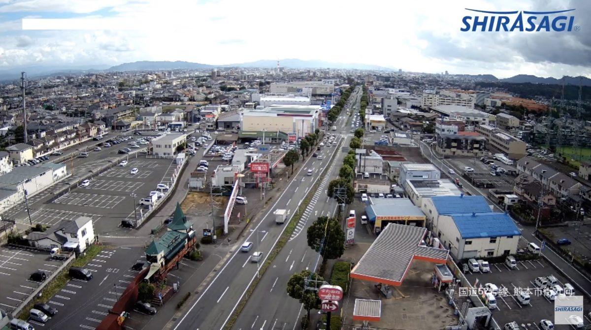 国道57号線 ライブカメラ(白鷺電気 鉄塔)と雨雲レーダー/熊本県東区