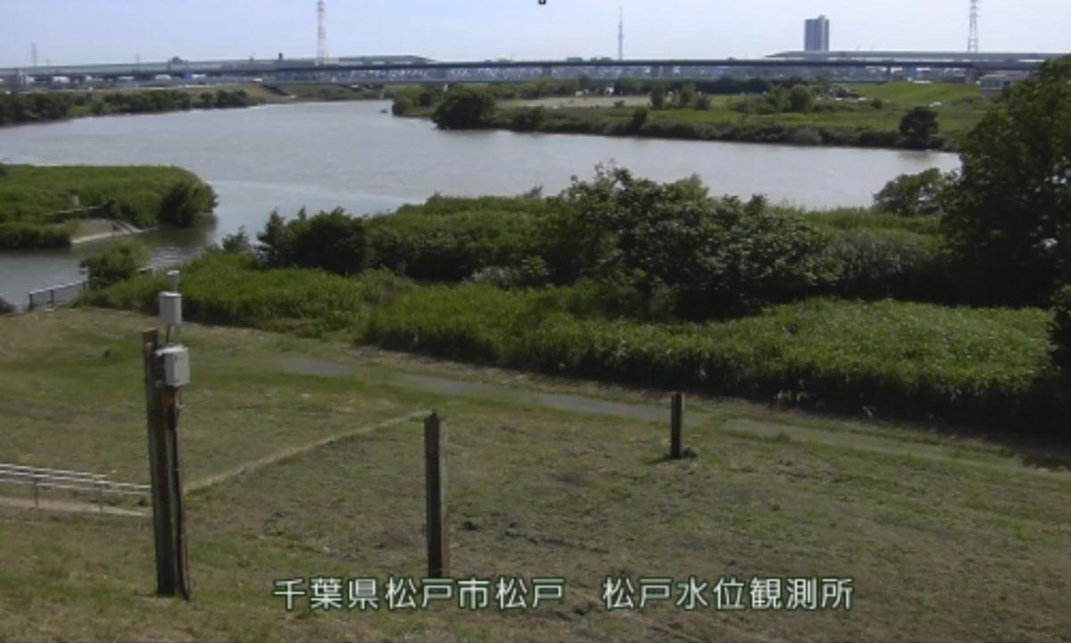 江戸川 ライブカメラ(松戸水位観測所)・河川水位と雨雲レーダー/千葉県松戸市