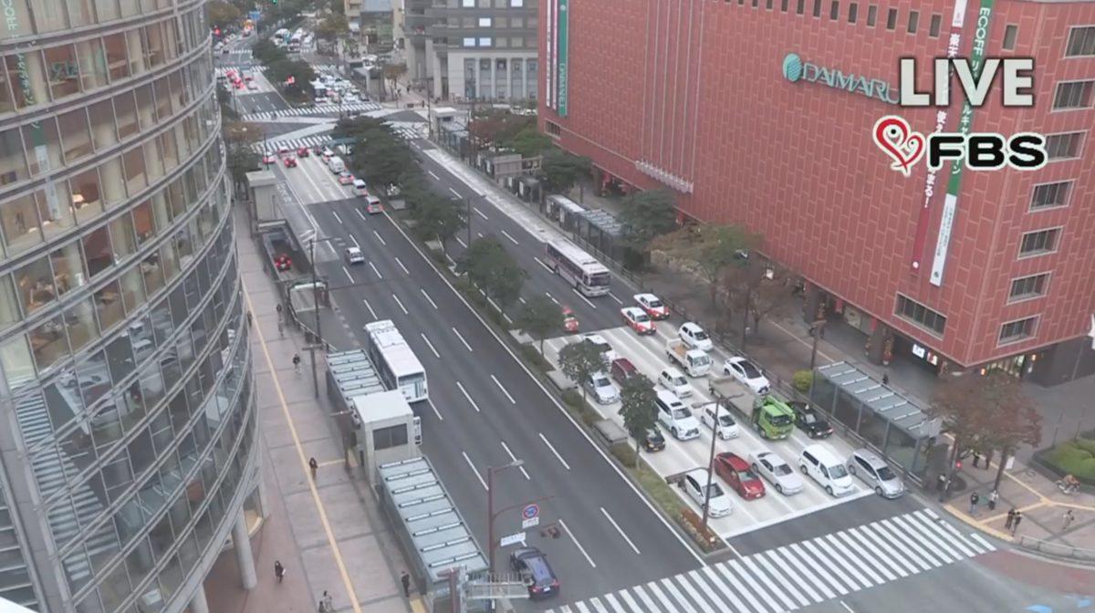 県道602号(渡辺通り) ライブカメラ(FBS)と雨雲レーダー/福岡県福岡市