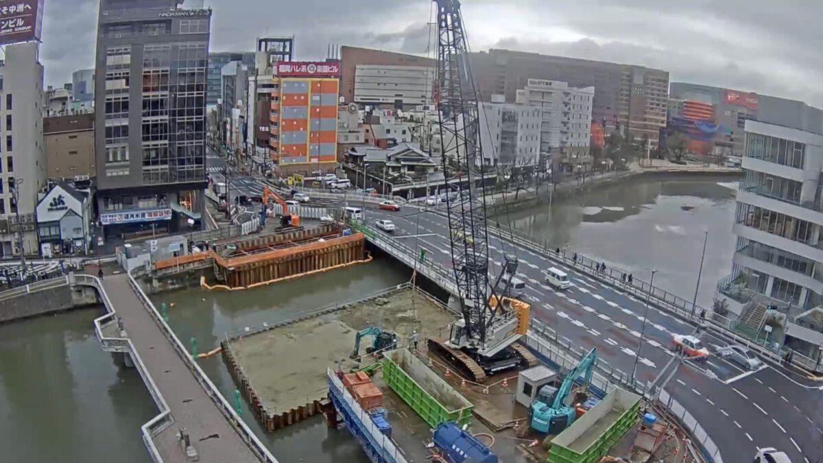 博多中洲 ライブカメラ(西日本新聞)と雨雲レーダー/福岡県福岡市