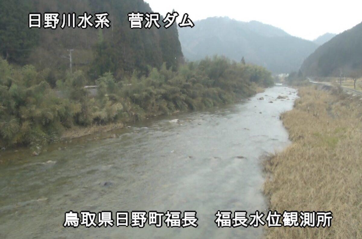 日野川・福長水位観測所ライブカメラと雨雲レーダー/鳥取県日野町福長