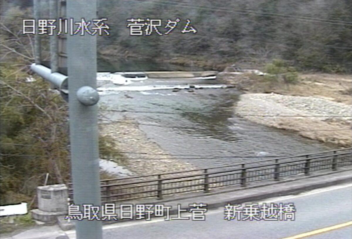 日野川・新乗越橋ライブカメラと雨雲レーダー/鳥取県日野町上菅