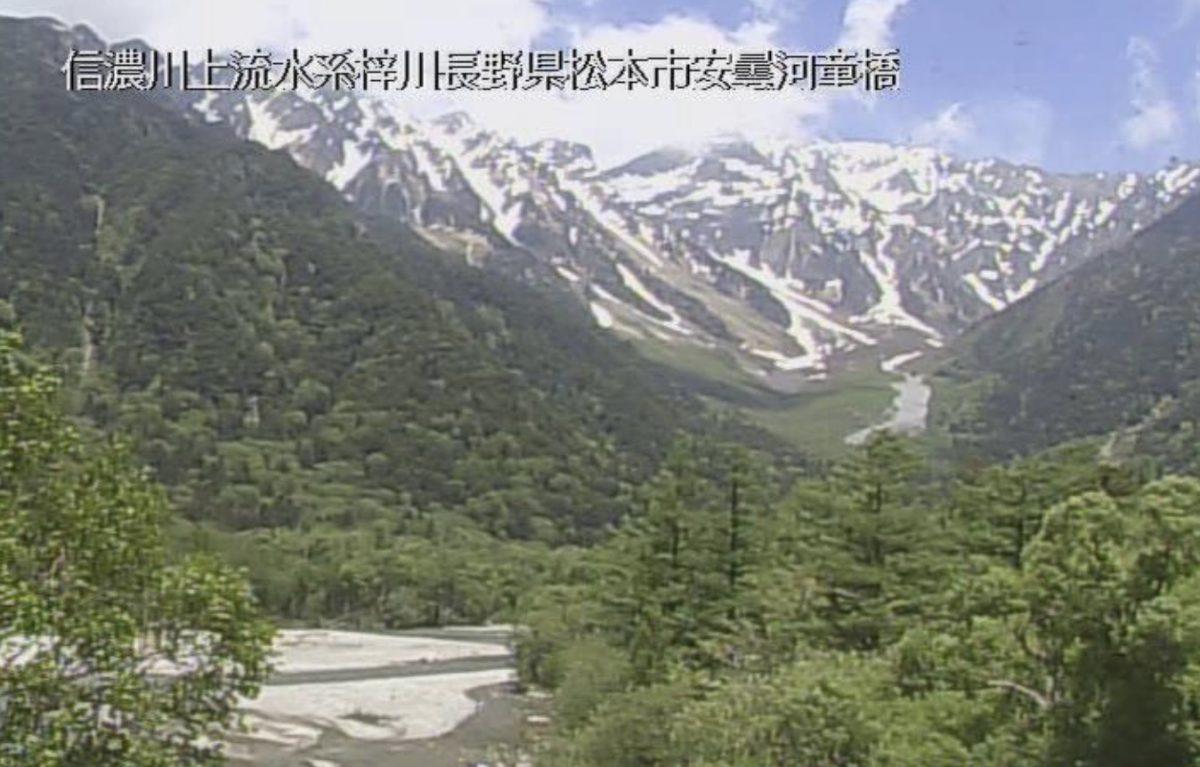 上高地 ライブカメラ(河童橋上流)と雨雲レーダー/長野県松本市
