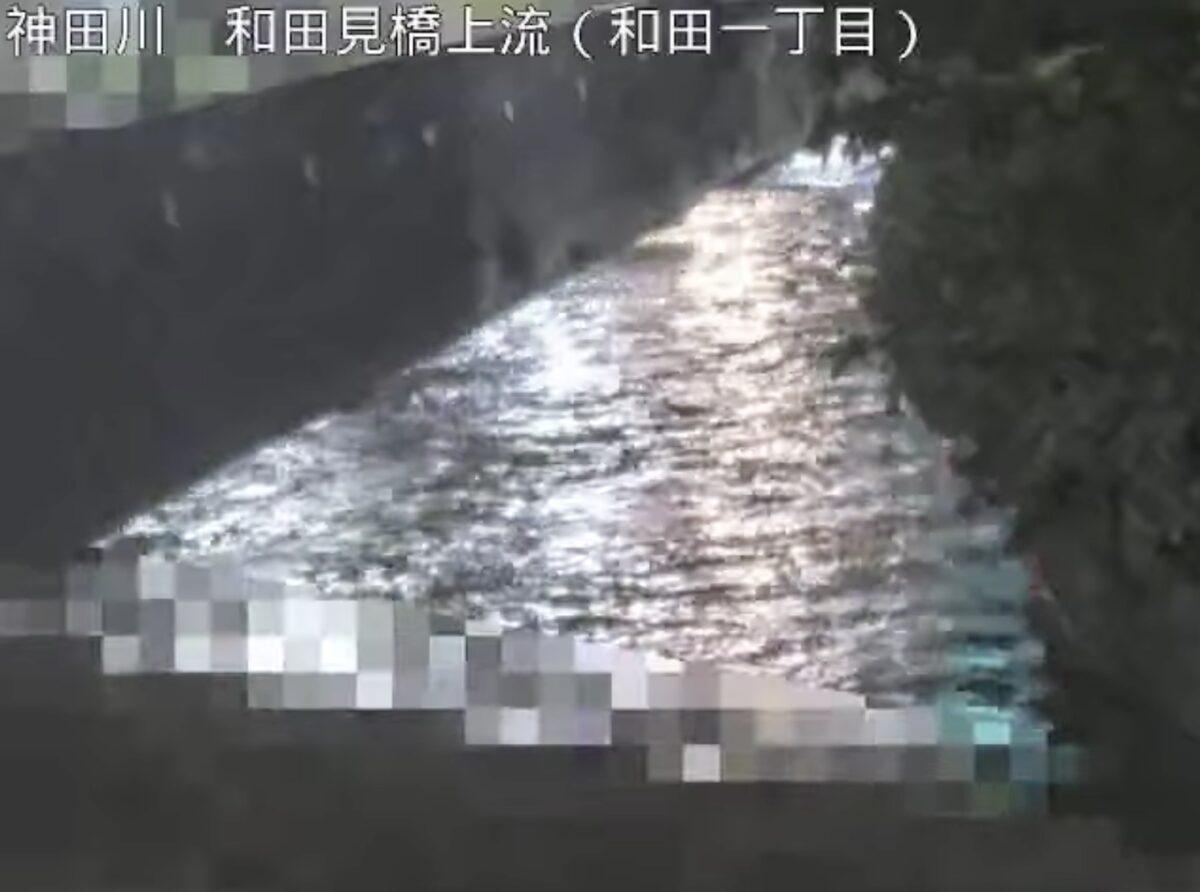 神田川・和田見橋上流ライブカメラと雨雲レーダー/東京都杉並区和田