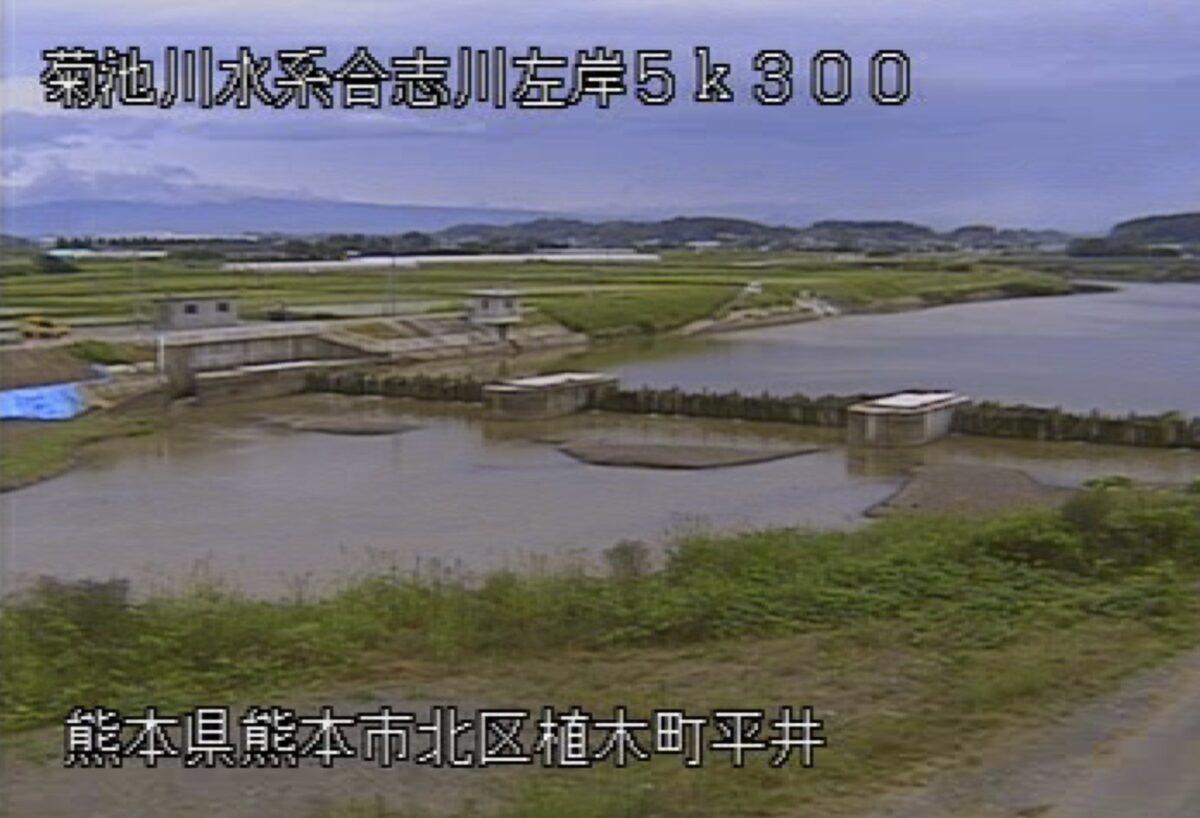 合志川・舟島(余内)ライブカメラと雨雲レーダー/熊本県熊本市北区植木町