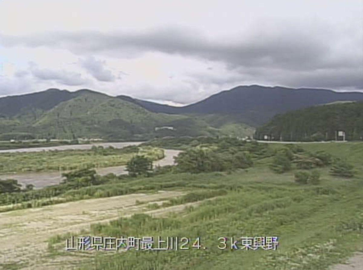 最上川 ライブカメラ(東興野)と雨雲レーダー/山形県庄内町