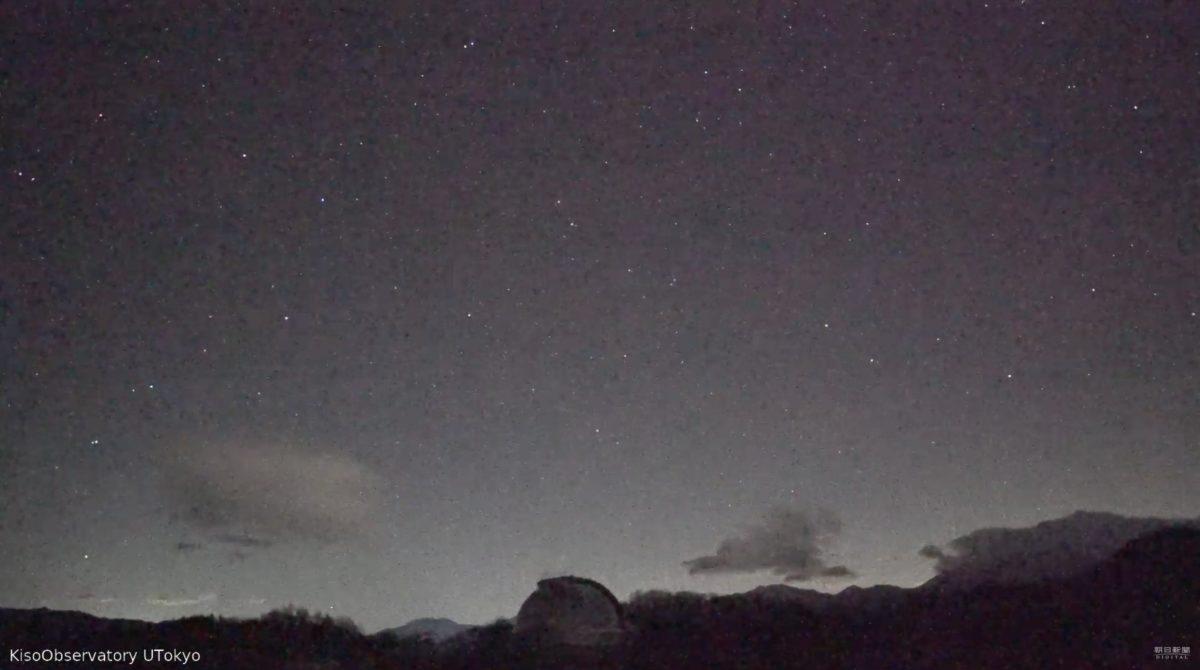 流れ星と大空 ライブカメラ(木曽観測所)と雨雲レーダー/長野県木曽町
