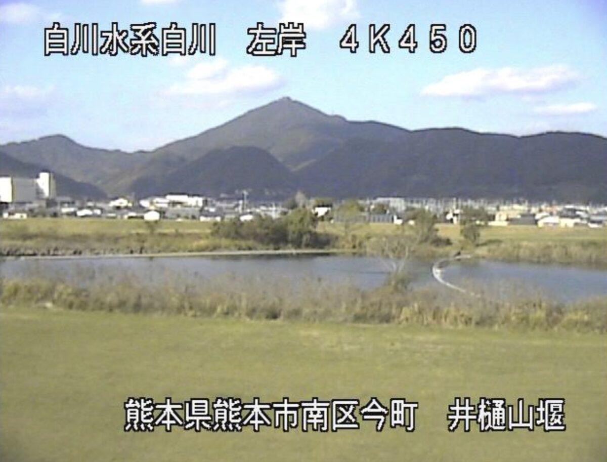 白川・井樋山堰ライブカメラと雨雲レーダー/熊本県熊本市南区