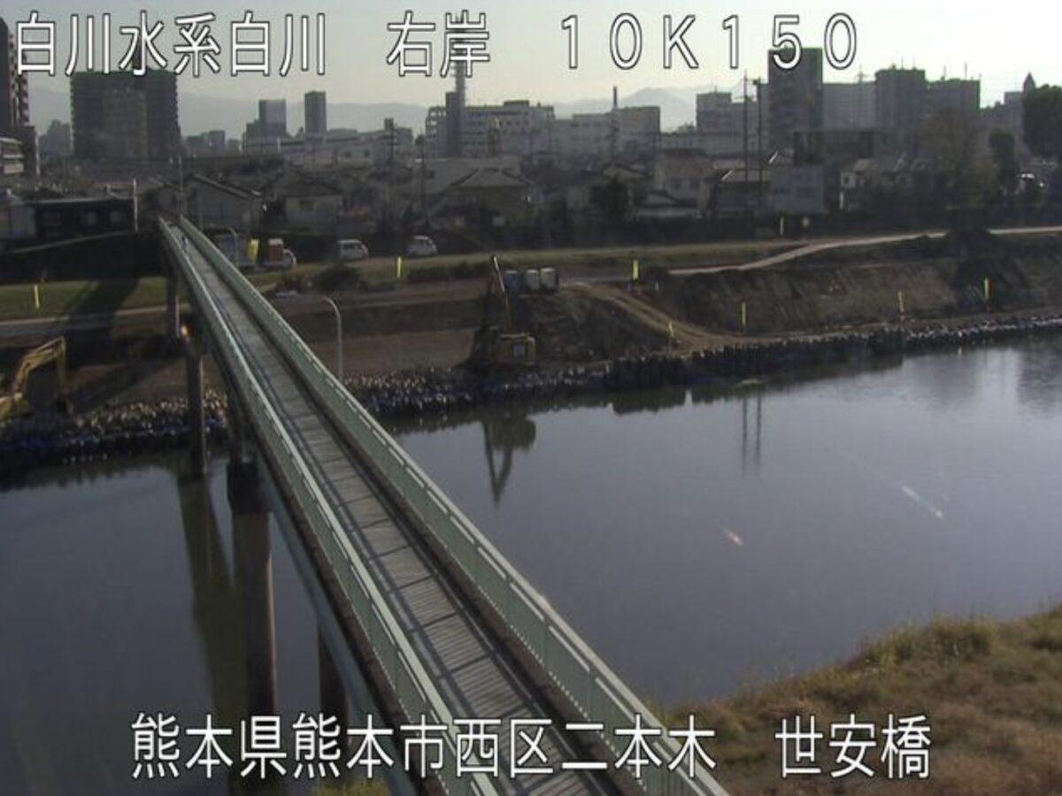 白川・世安橋ライブカメラと雨雲レーダー/熊本県熊本市西区