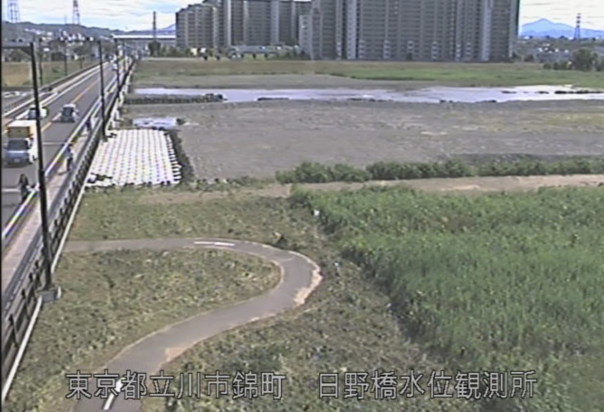 多摩川 ライブカメラ(日野橋水位観測所)と雨雲レーダー/東京都立川市