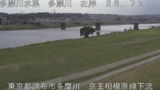 多摩川 ライブカメラ(京王相模原線下流)・河川水位と雨雲レーダー/東京都調布市
