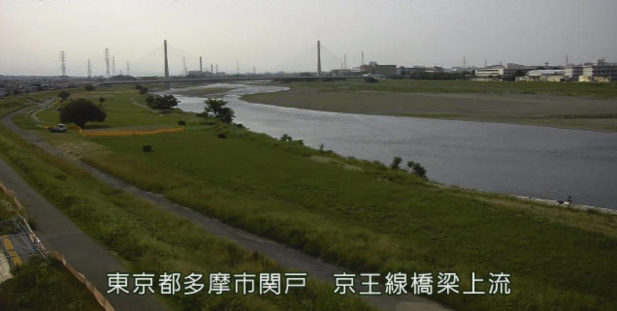 多摩川 ライブカメラ(京王線橋梁上流)と雨雲レーダー/東京都多摩市