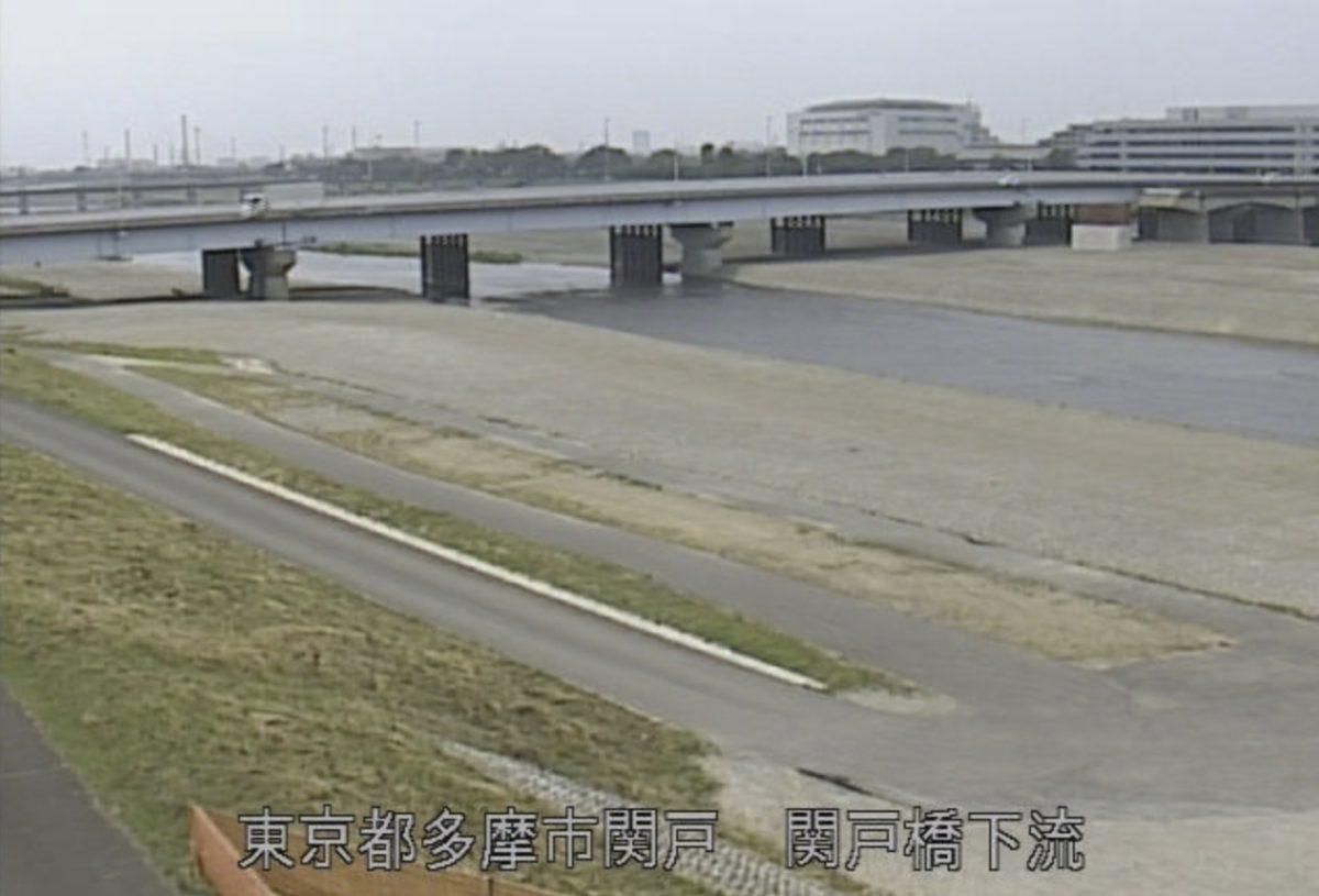 多摩川 ライブカメラ(関戸橋下流)と雨雲レーダー/東京都多摩市
