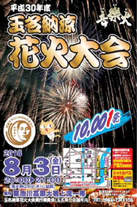 熊本県玉名市 玉名納涼花火大会2018 音楽火ライブカメラと雨雲レーダー