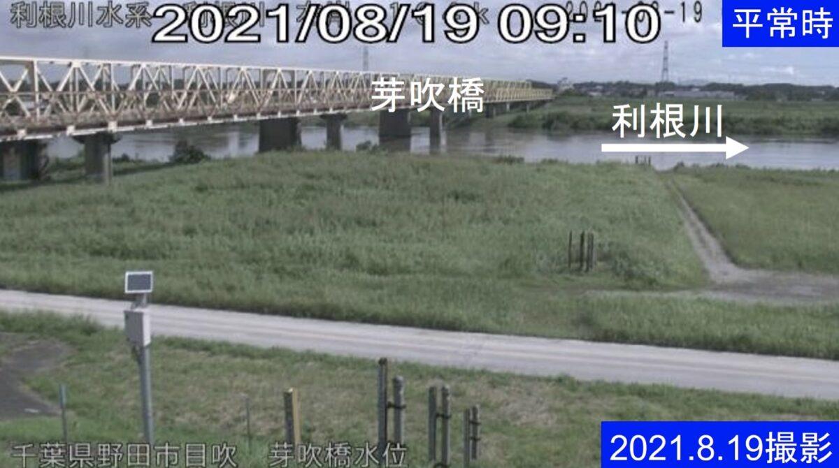 利根川・芽吹水位ライブカメラと雨雲レーダー/千葉県野田市目吹