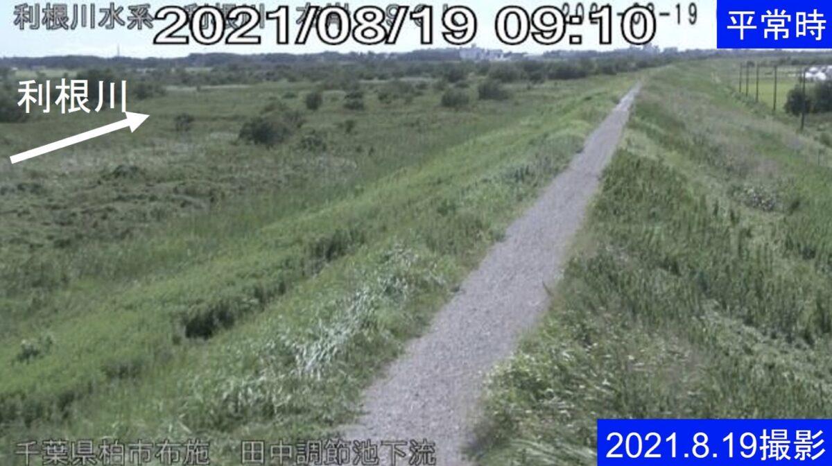 利根川・田中調節池下流ライブカメラと雨雲レーダー/千葉県柏市布施