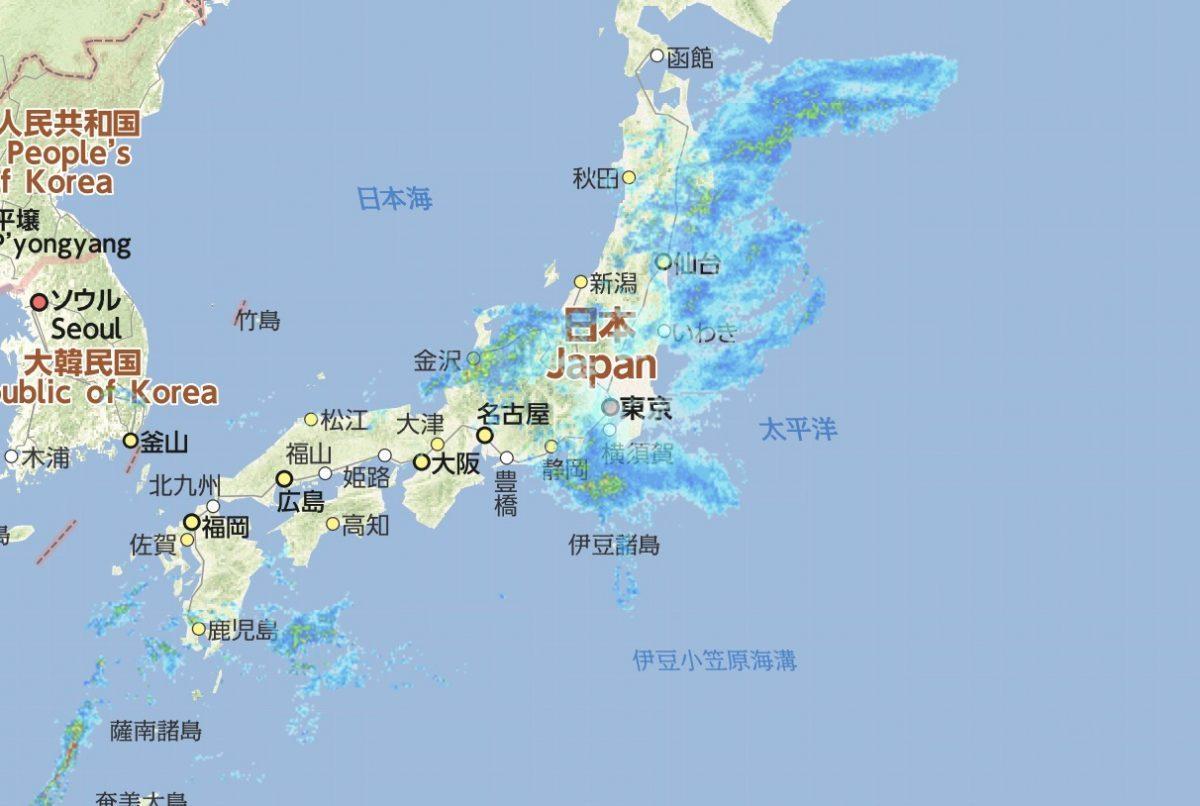 雨雲レーダーの様子 2019.6.28 3:20時点